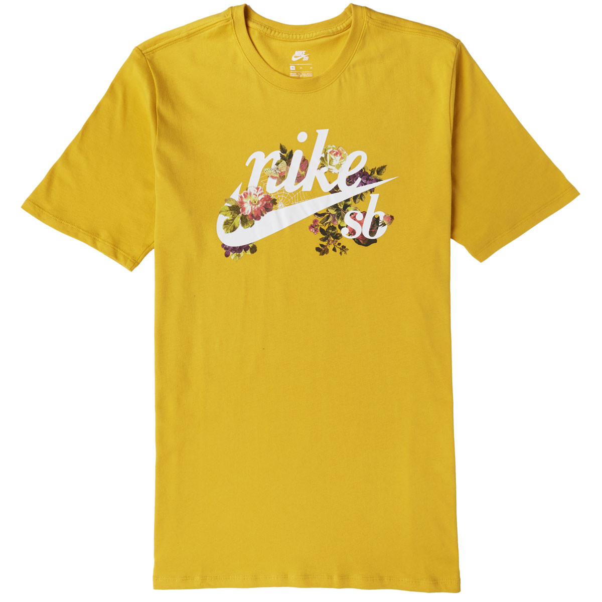 wholesale price factory outlets fashion styles Nike SB Floral Logo T-Shirt - Yellow Ochre/White