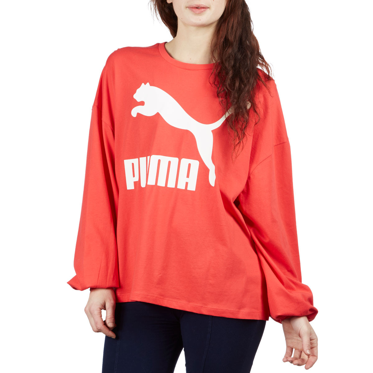 20fc47fed183 Puma Womens Classic Logo Long Sleeve T-Shirt - Hibiscus