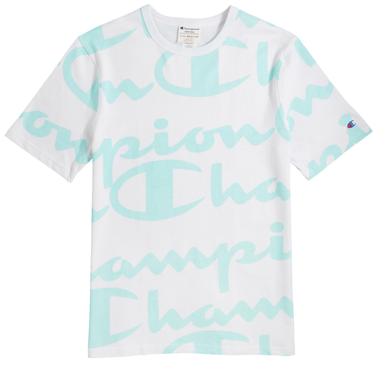 fda3115daf9b Champion Heritage All Over Giant Script T-Shirt - White Waterfall