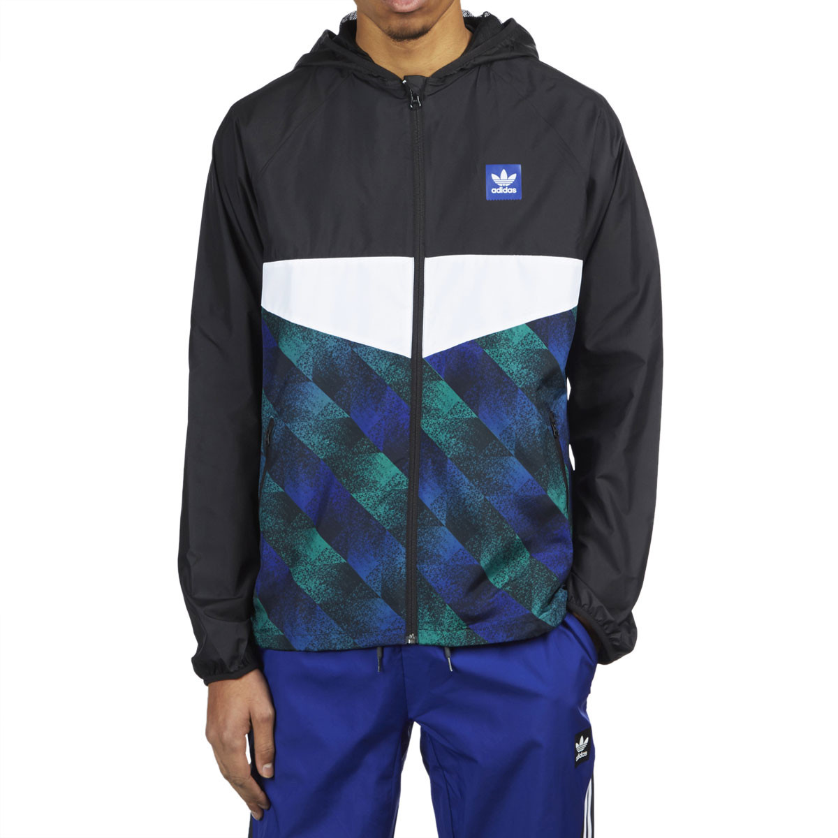 02219b35d Adidas Towning Jacket - Black/White/Action Blue/Action Green