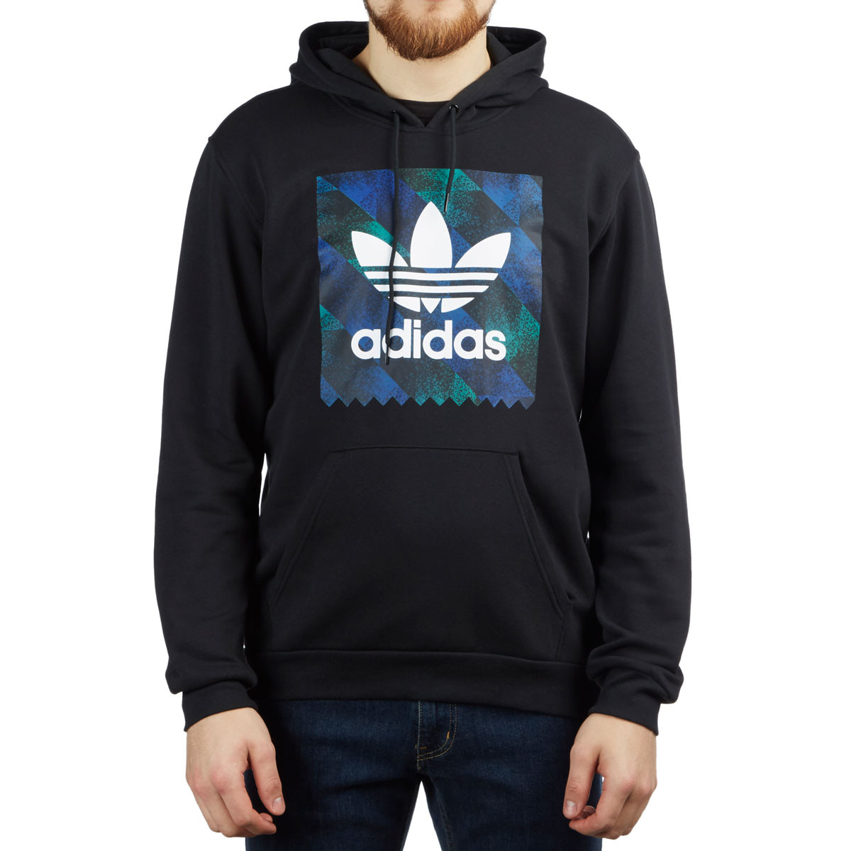 abacf1151 Adidas Towning Hoodie - Black/White/Action Blue/Action Green