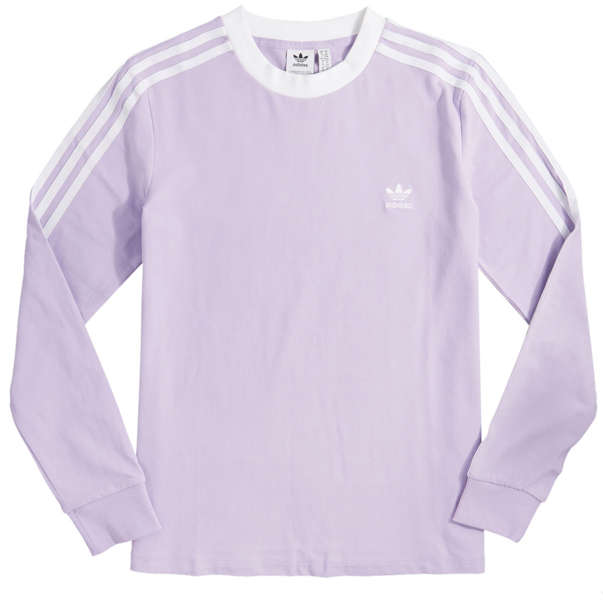 great deals 2017 superior quality rock-bottom price Adidas Womens 3 Stripe Long Sleeve T-Shirt - Purple Glow