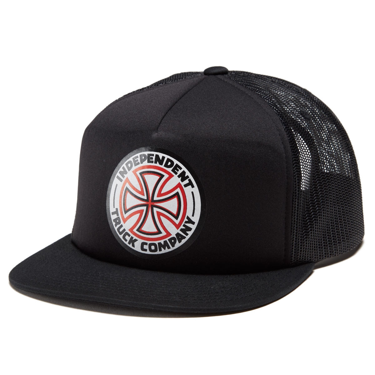0869814de7e60 Independent Red White Cross High Profile Mesh Trucker Hat - Black