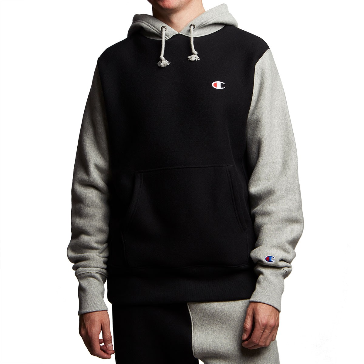 a446ecab4 Champion Reverse Weave Colorblock Pullover Hoodie - Black/Oxford ...