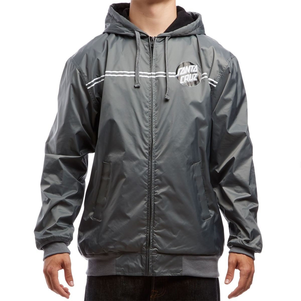 Santa Cruz Dot Hooded Windbreaker Jacket - Charcoal