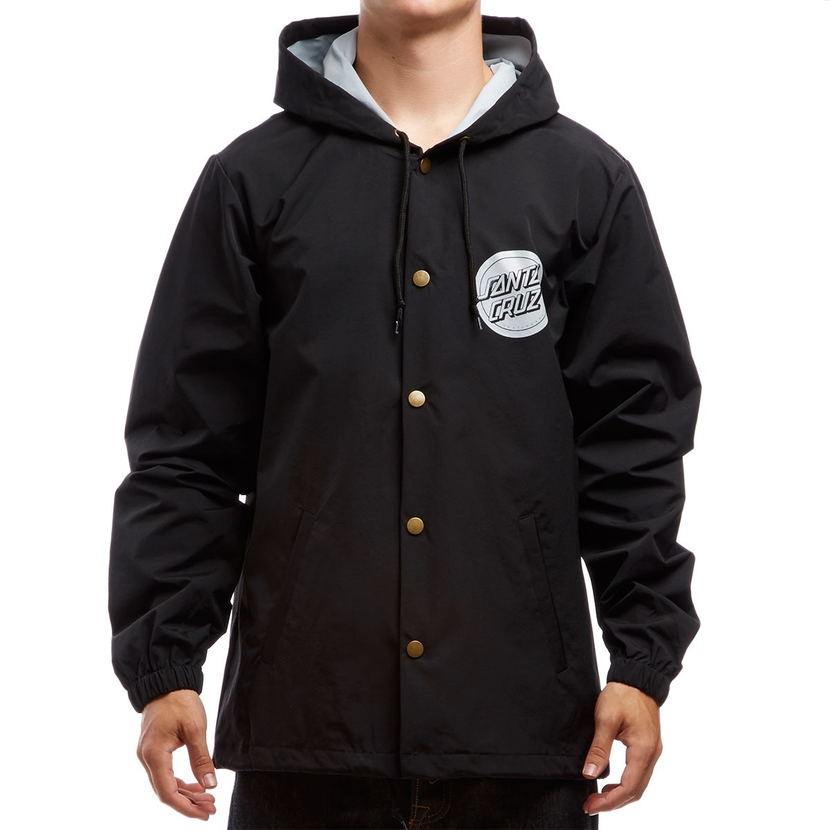 Santa Cruz Handled Hooded Windbreaker Jacket - Black