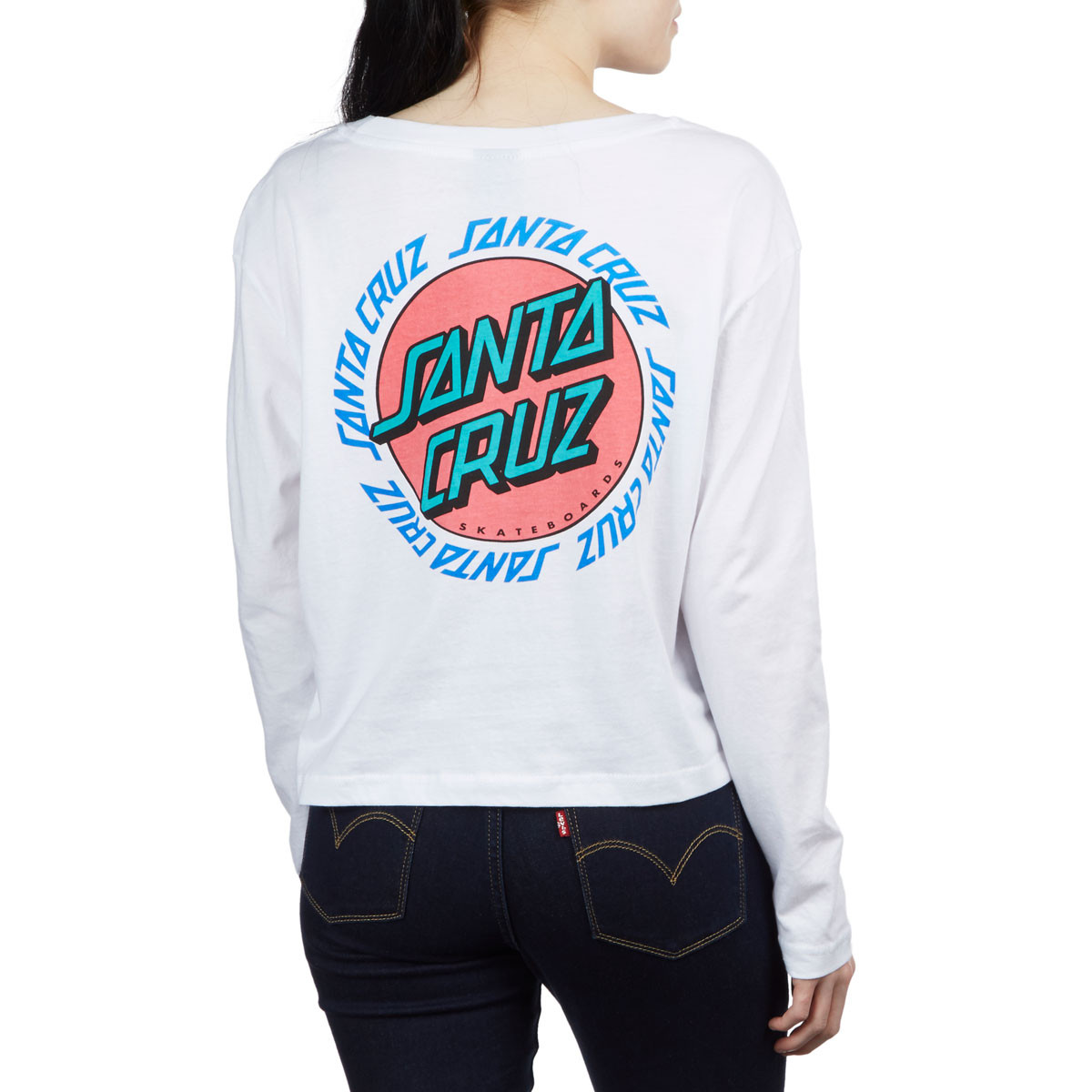 31d2811322703 Santa Cruz Womens Ringed Dot Crop Boyfriend Long Sleeve T-Shirt - White