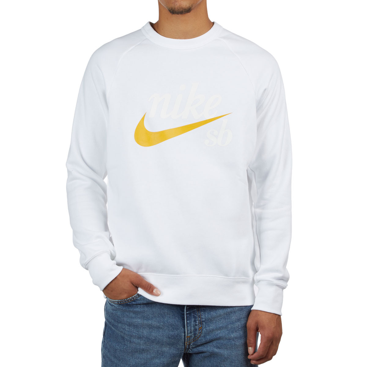 Top Crew Sweatshirt Icon Nike Ochre WhiteYellow SB Heritage Graphics 4R35jAL