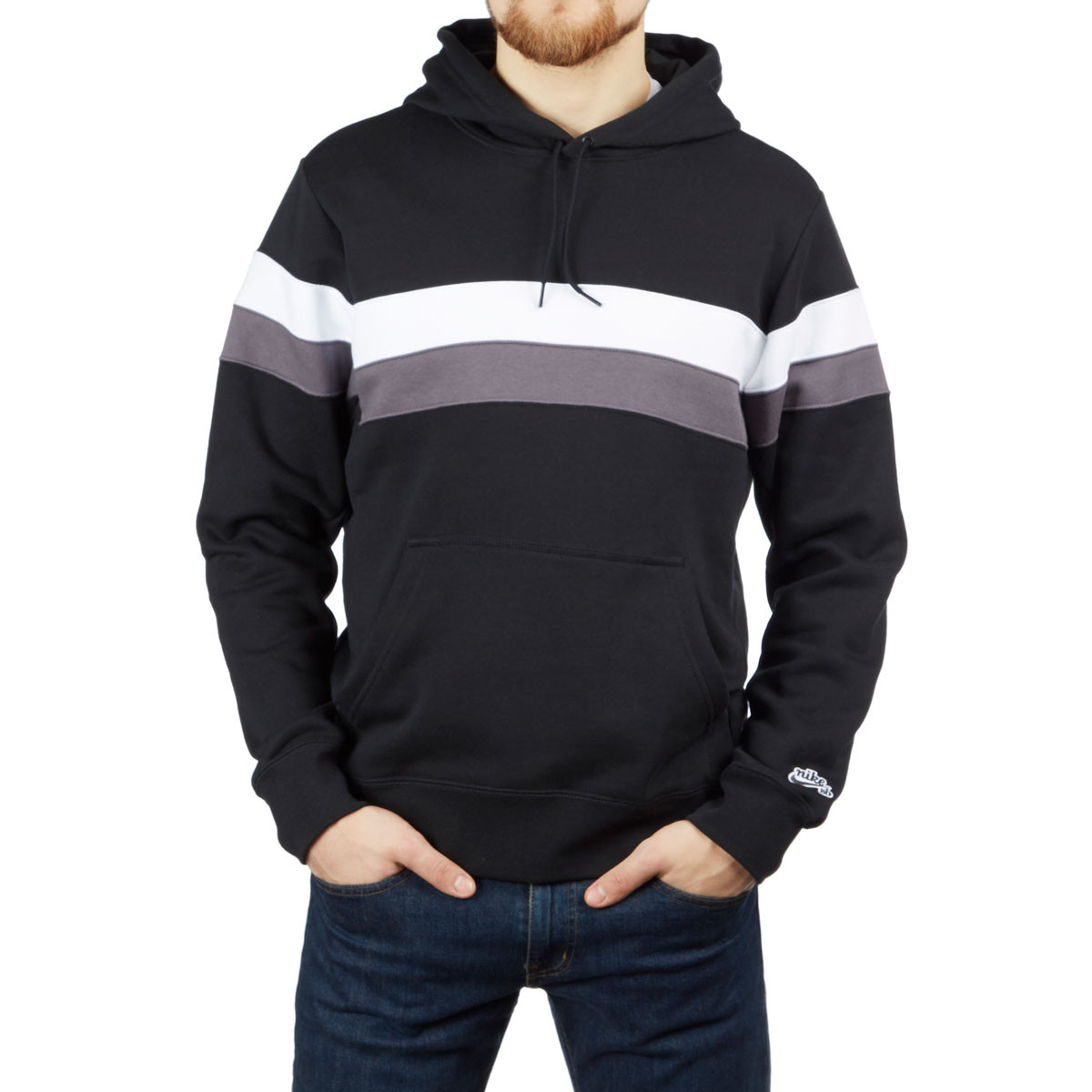 Grey and black striped hoodie sorry