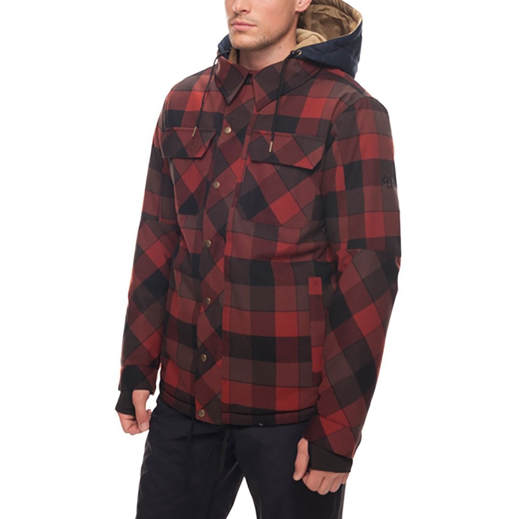 e75102505 686 Woodland Insulated Snowboard Jacket - Rusty Red/Plaid