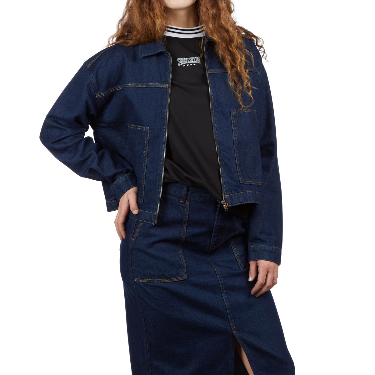 Super discount biggest selection online sale Sweet Womens Cropped Worker Jacket - Rinse