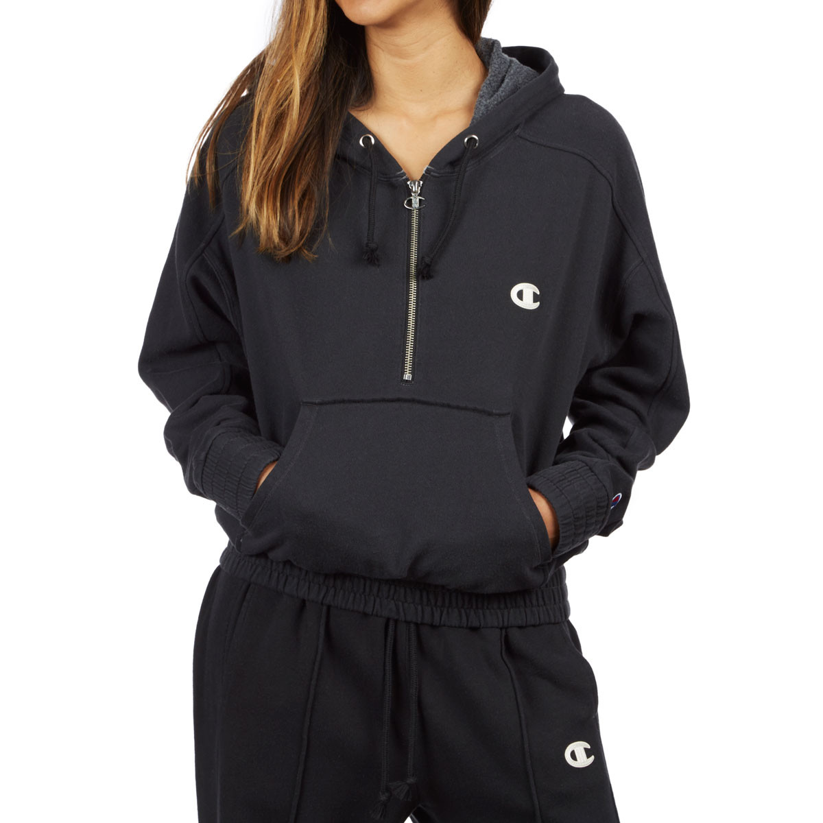 Champion Womens Vintage Dyed Fleece 1 2 Zip Hoodie - Black b553220ee2