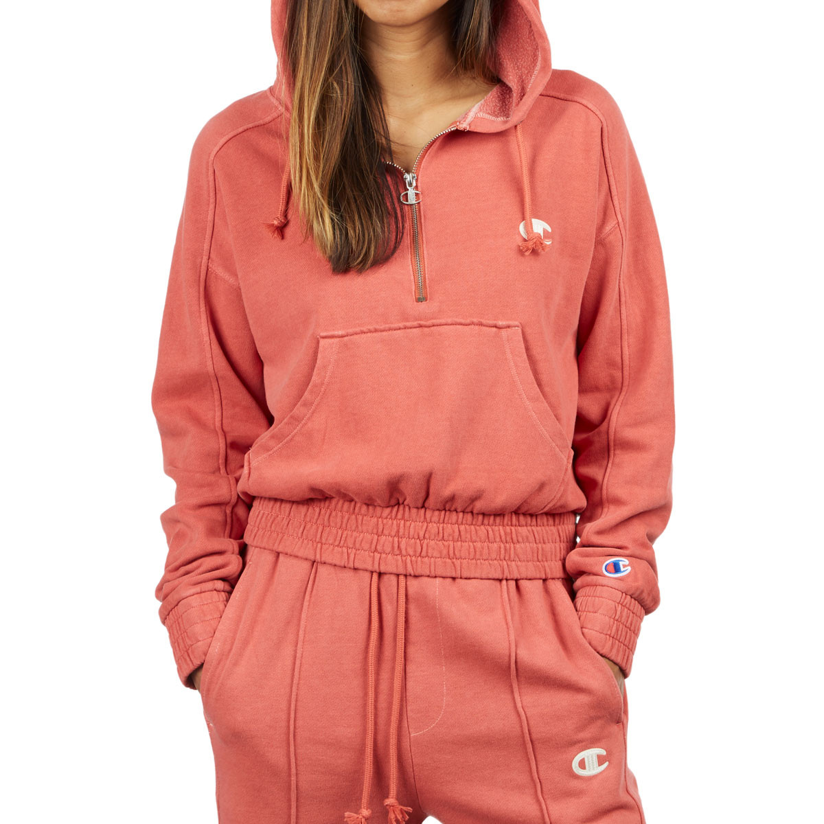 new styles order online best online Champion Womens Vintage Dyed Fleece 1/2 Zip Hoodie - Picante Pink