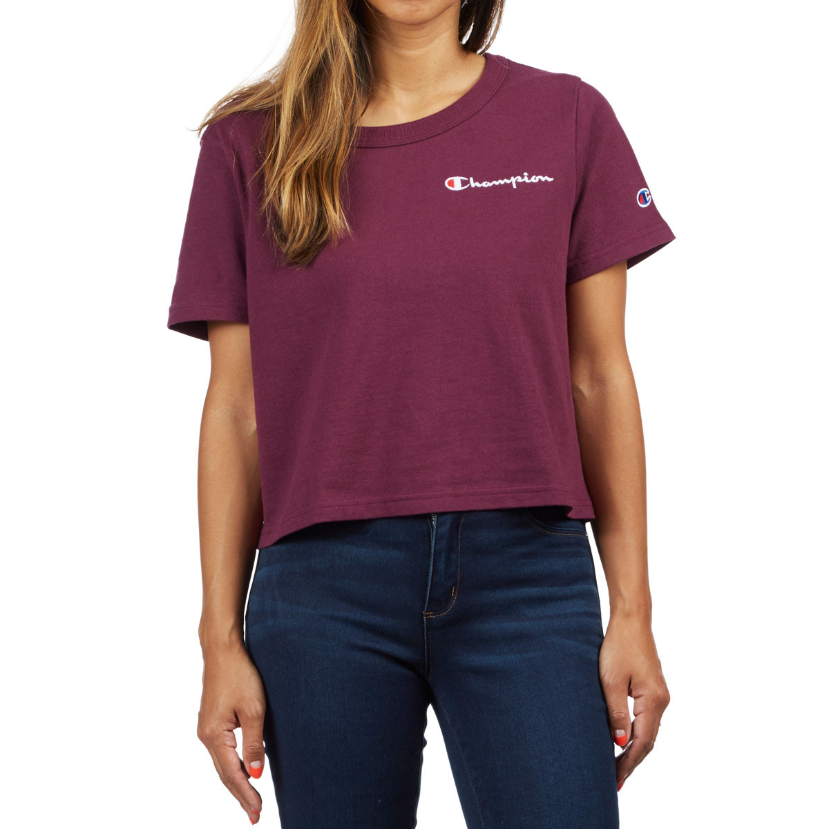 Champion Womens Cropped T-Shirt - Dark Berry Purple 94cd59d42