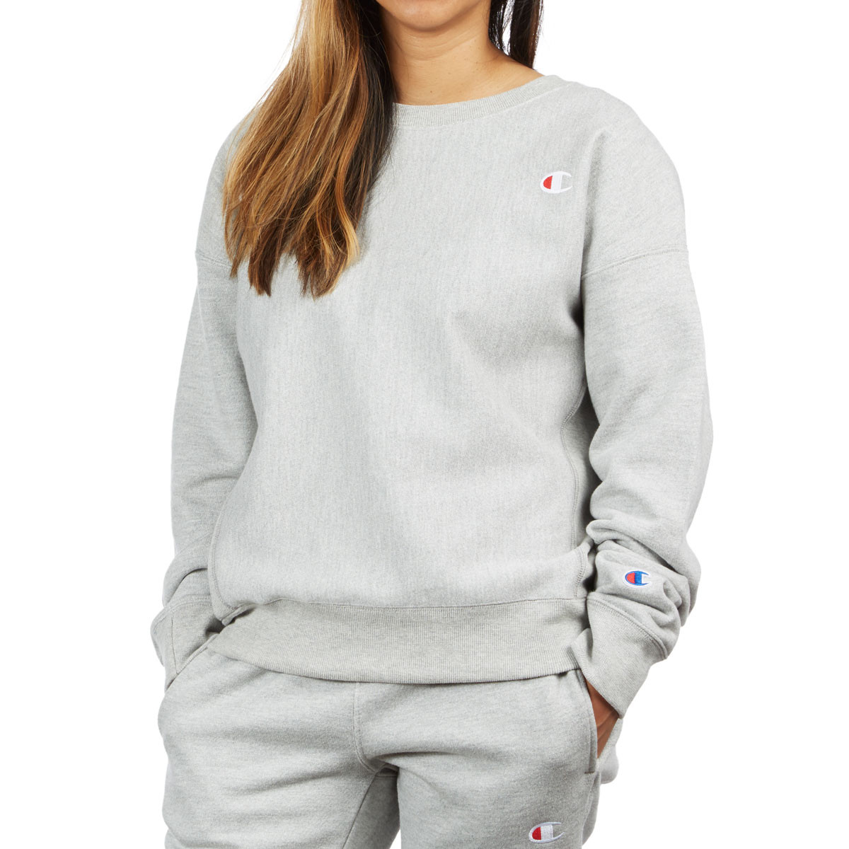 Champion Womens Reverse Weave Crew Sweatshirt - Oxford Grey 1379a53806