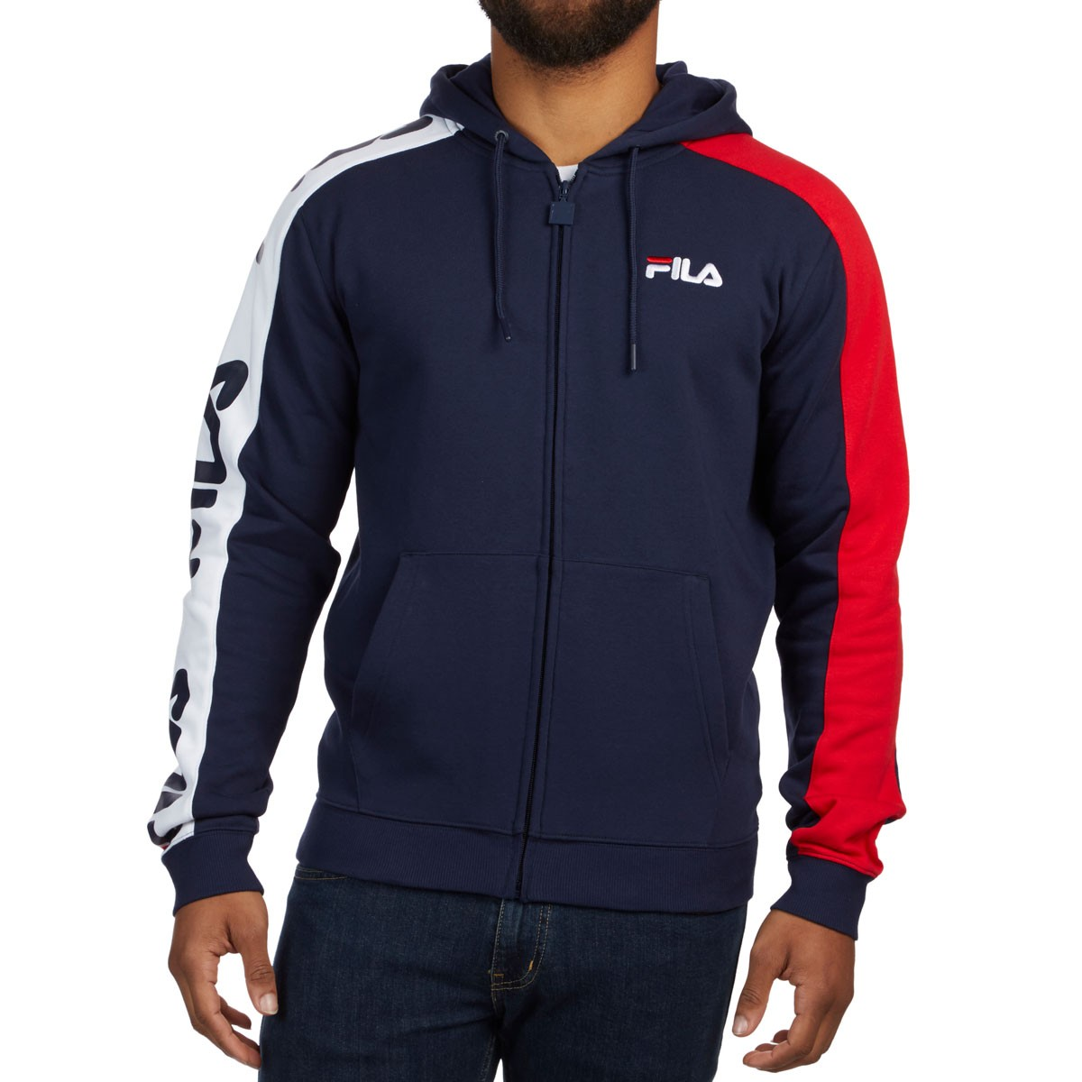 a35af17f0b5e FILA Stan Full Zip Hoodie - Peacoat Chinese Red White