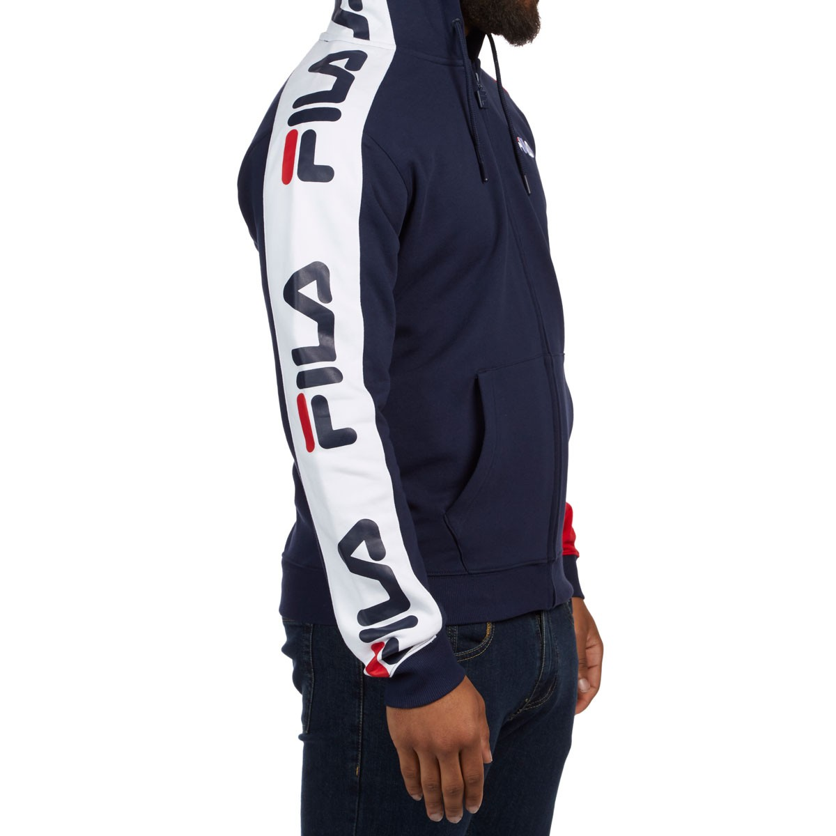 boy hottest sale buy real FILA Stan Full Zip Hoodie - Peacoat/Chinese Red/White