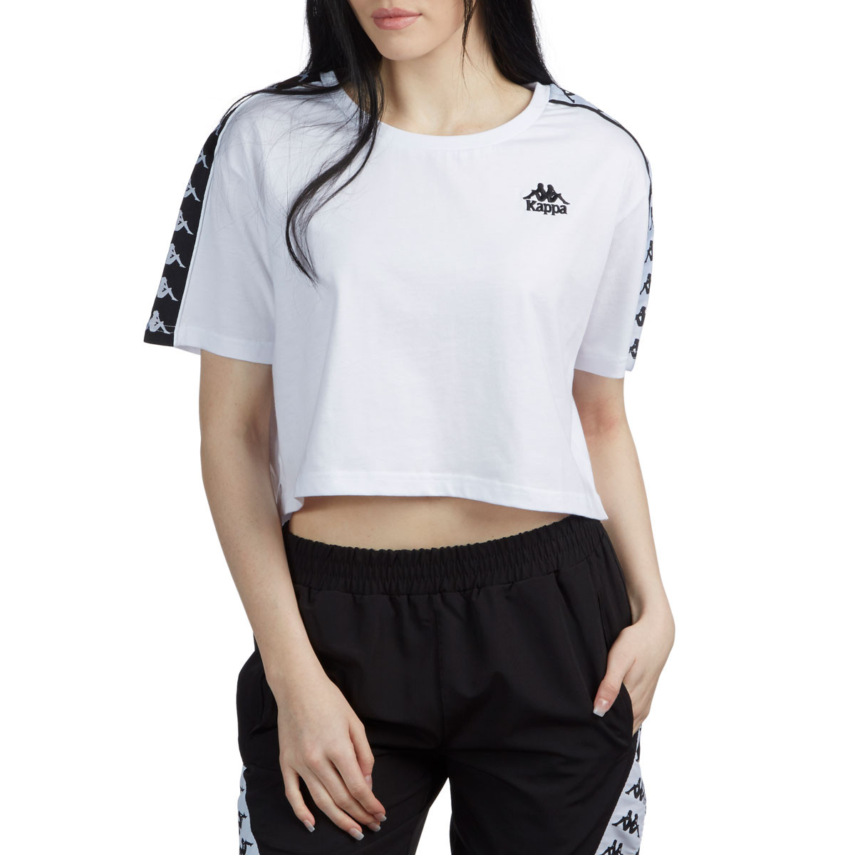 wholesale price various design colours and striking Kappa Womens 222 Banda Apua T-Shirt - White/Black