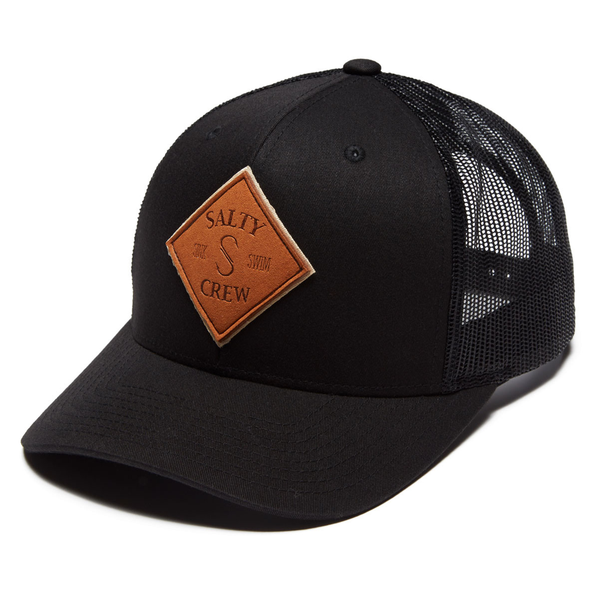 1310a354 Salty Crew Tippet Leather Retro Trucker Hat - Black
