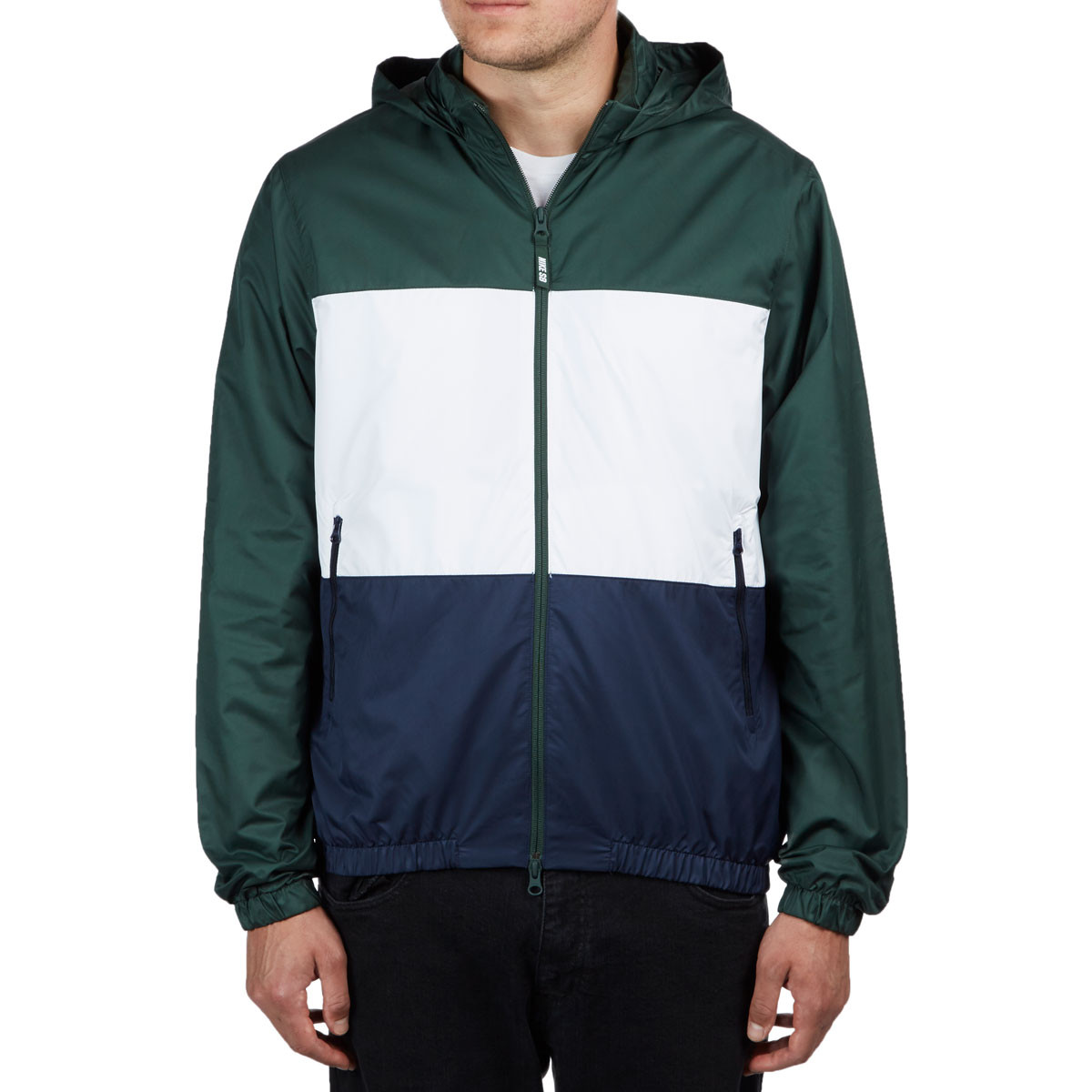 fashion style casual shoes classic styles Nike SB Dry-Fit Hooded Stripe Jacket - Midnight Green/White/Obsidian