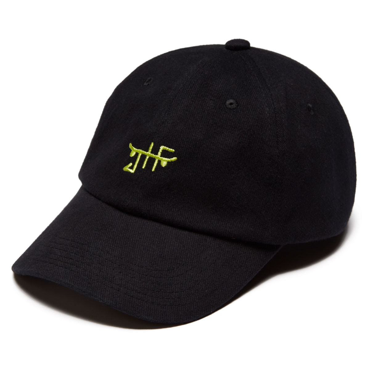 4d3cd980f8c861 Just Have Fun Classic Skate Dad Hat Hat - Black /Neon Green