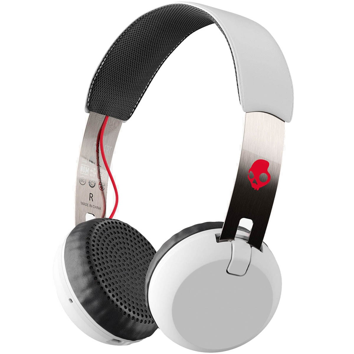 skullcandy grind wireless headphones whiteblackred