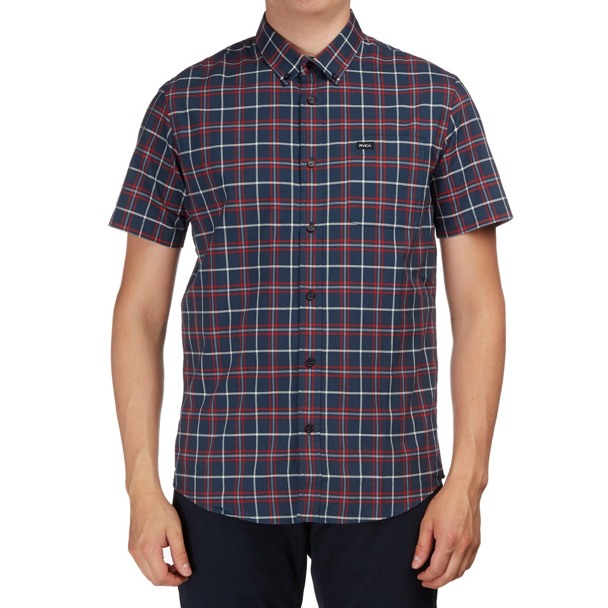 Rvca that 39 ll do plaid short sleeve shirt dark denim Short sleeve plaid shirts