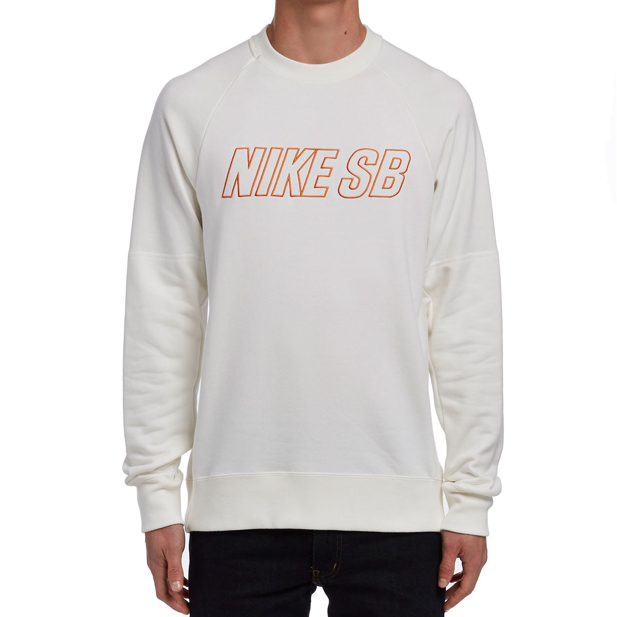 Nike Sb Everett Reveal Crew Sweatshirt Ivory Clay Orange