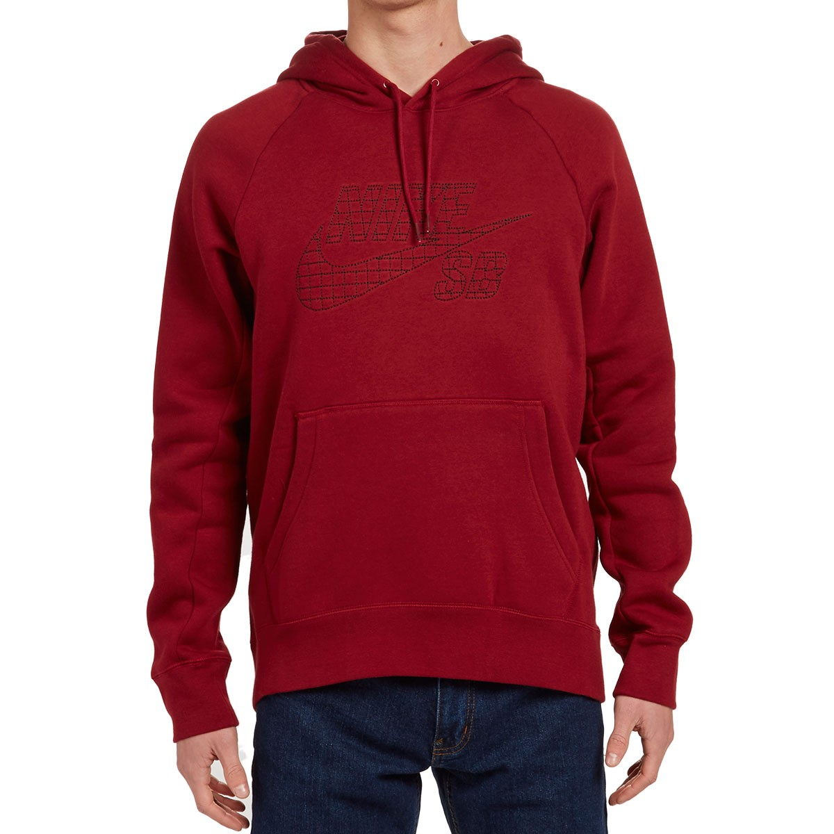 47d2dfae0628 Nike SB Icon Grid Fill Pullover Hoodie - Red Black