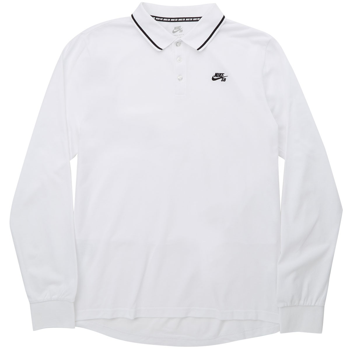 3b290c158708 Nike SB Pique Long Sleeve Polo Shirt - White Black