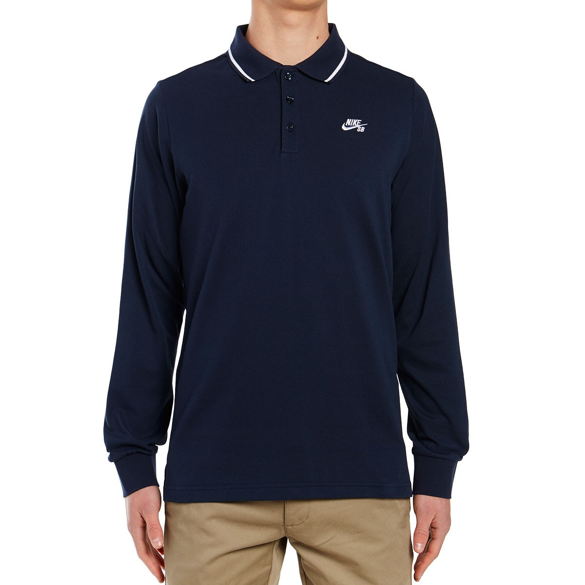 Nike SB Dry Long Sleeve Polo Shirt - Obsidian/White