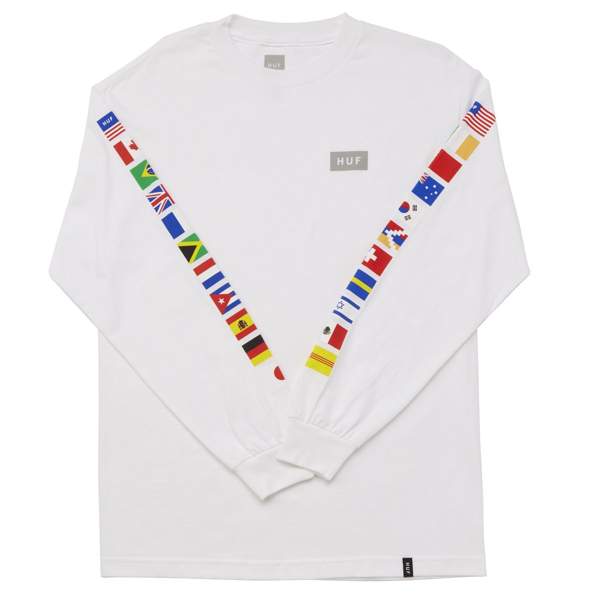 c8685fac65 HUF Flag Long Sleeve T-Shirt - White