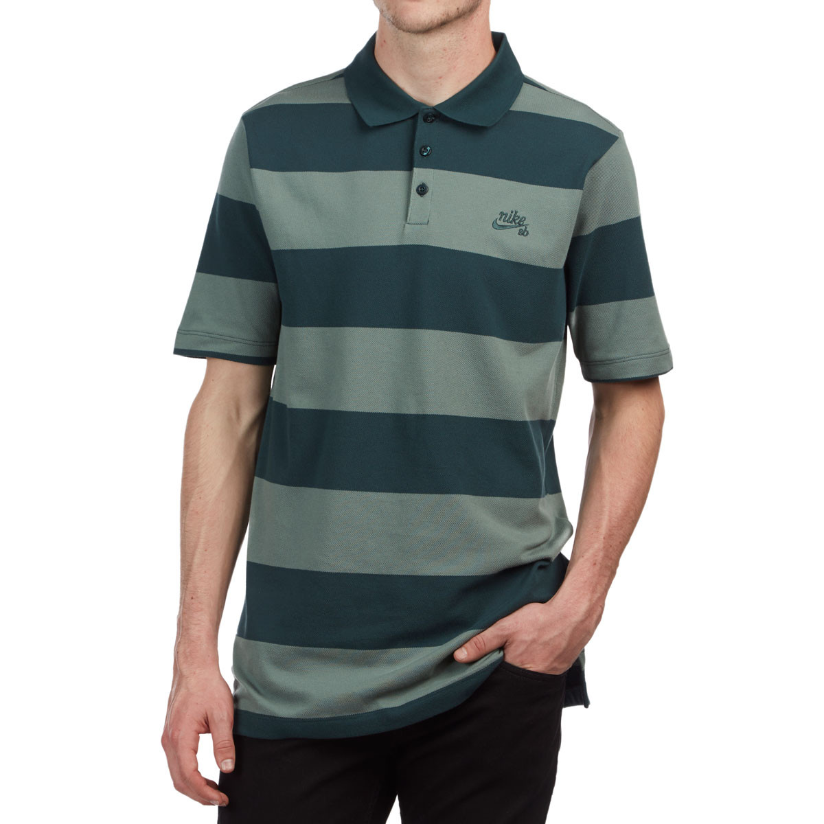 67e0b67e Nike SB Dry Polo Stripe Shirt - Deep Jungle