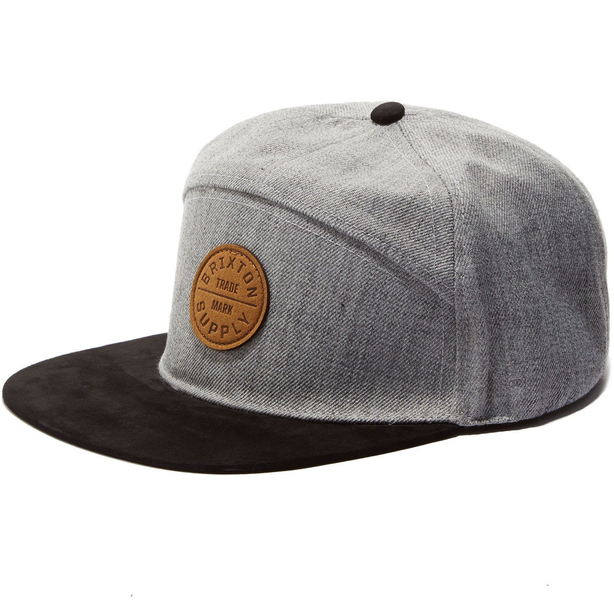 Brixton Oath 7 Panel Hat - Light Heather Grey/Black