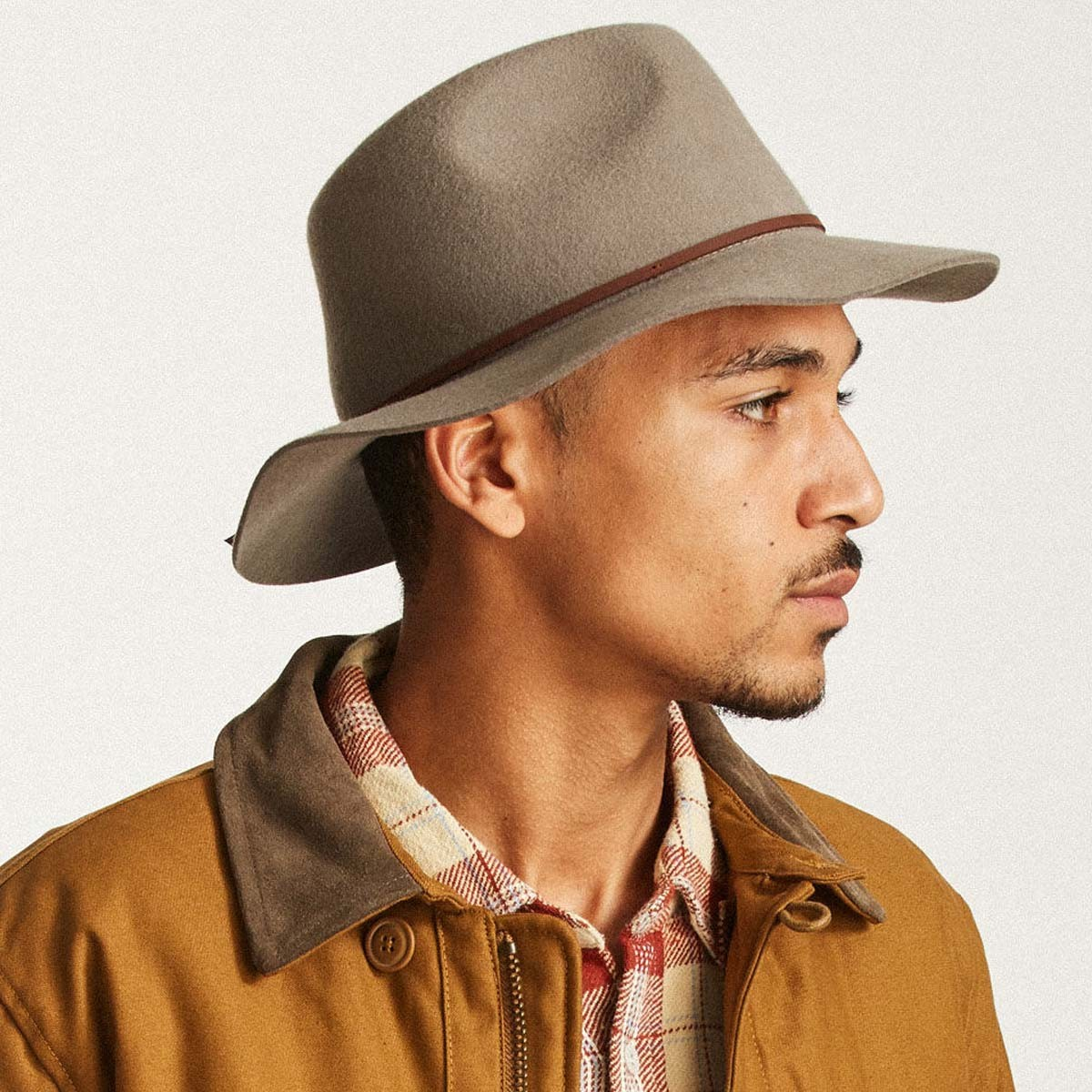 9ed34166 Brixton Wesley Fedora Hat - Natural/Dark Brown - MD