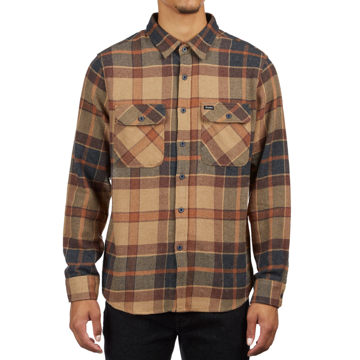 600442931ea6 Brixton Bowery Long Sleeve Flannel Shirt - Cream Copper