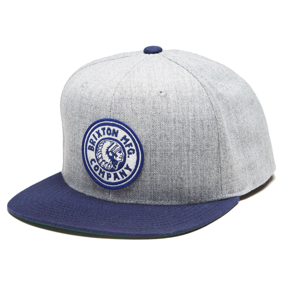 716633f3db22f Brixton Rival Snapback Hat - Heather Grey Navy