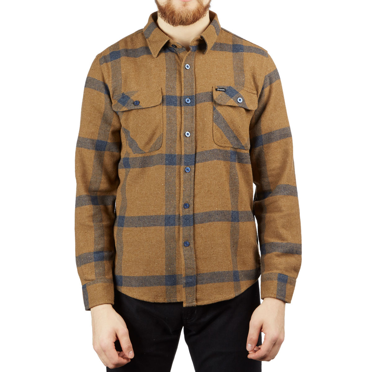 382fe3eb Brixton Bowery Long Sleeve Flannel Shirt - Gold/Navy