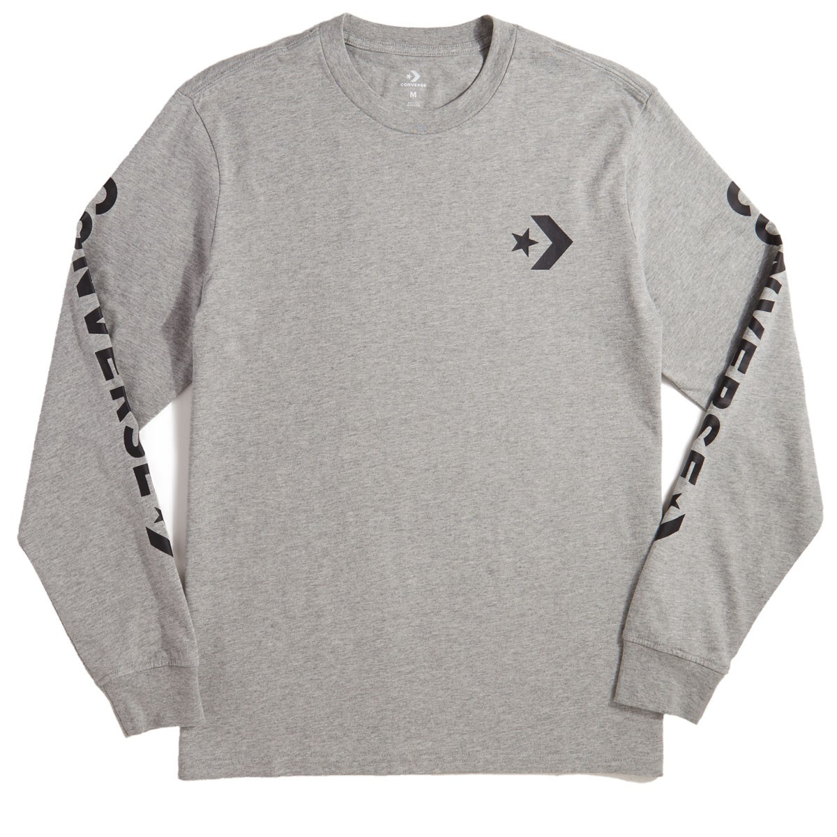 be084b765227 Converse Star Chevron Wordmark Long Sleeve T-Shirt - Vintage Grey ...