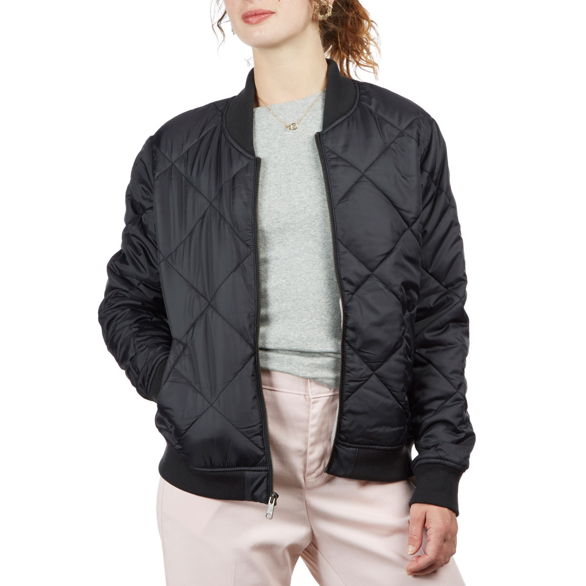 3a35f5028af Dickies Womens Quilted Bomber Jacket - Black