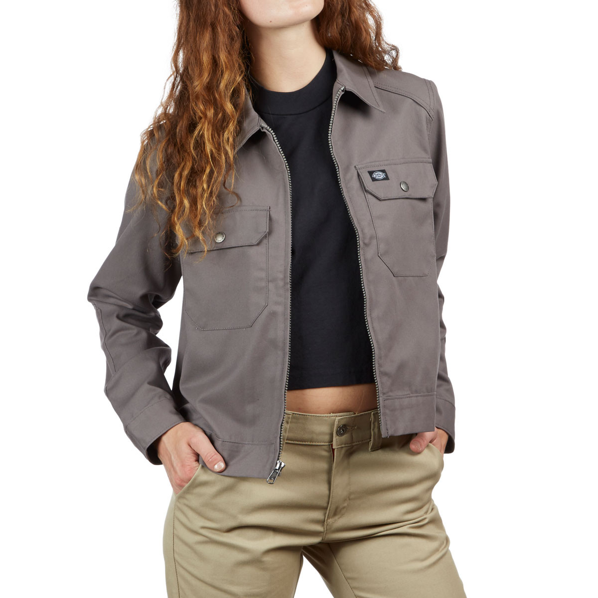 b5b29cf29176e Dickies Womens Twill Military Jacket - Gravel Grey
