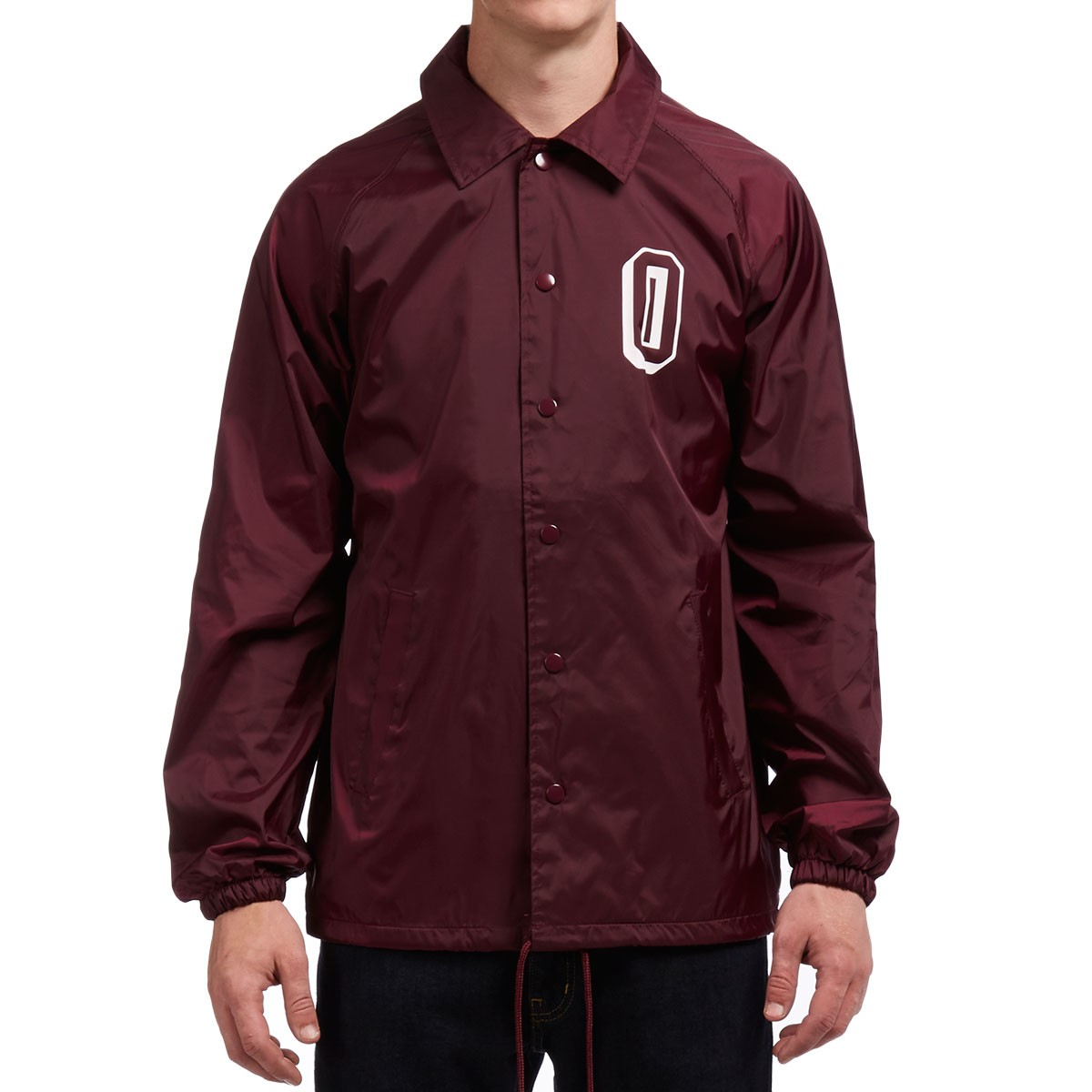 Obey varsity coach jacket maroon for Coach jacket