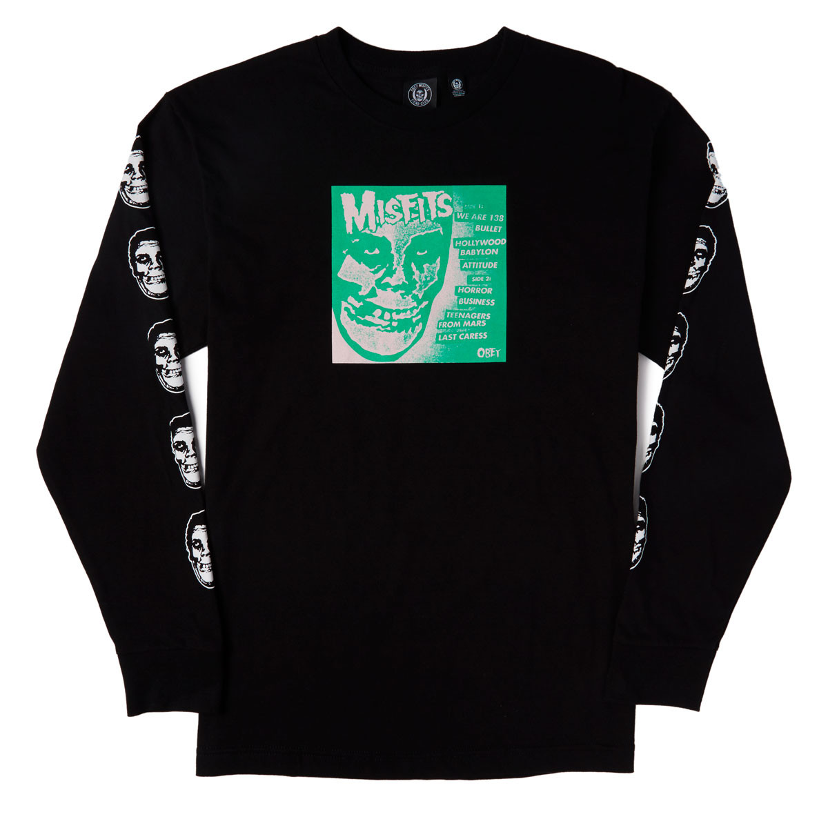 obey x misfits 7in cover long sleeve t shirt black - Misfits Christmas Sweater