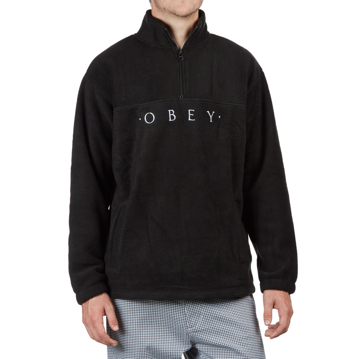 Obey Mountain Mock Zip Sweatshirt - Black f813345b4e29
