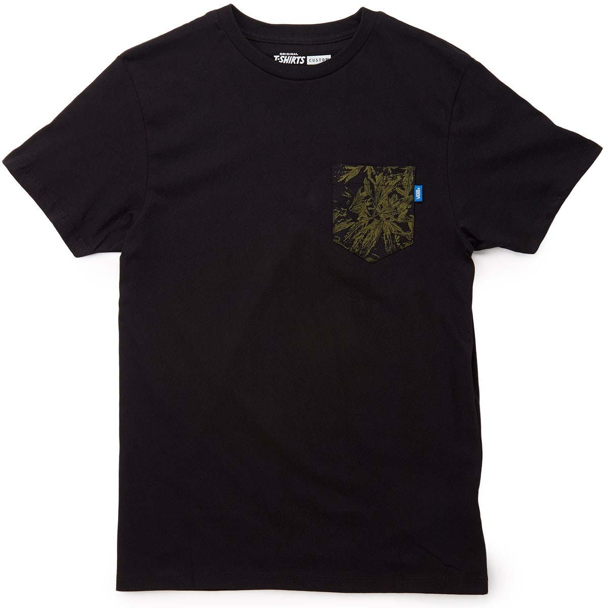 Vans printed pocket t shirt black indigo bloom for Pocket t shirt printing