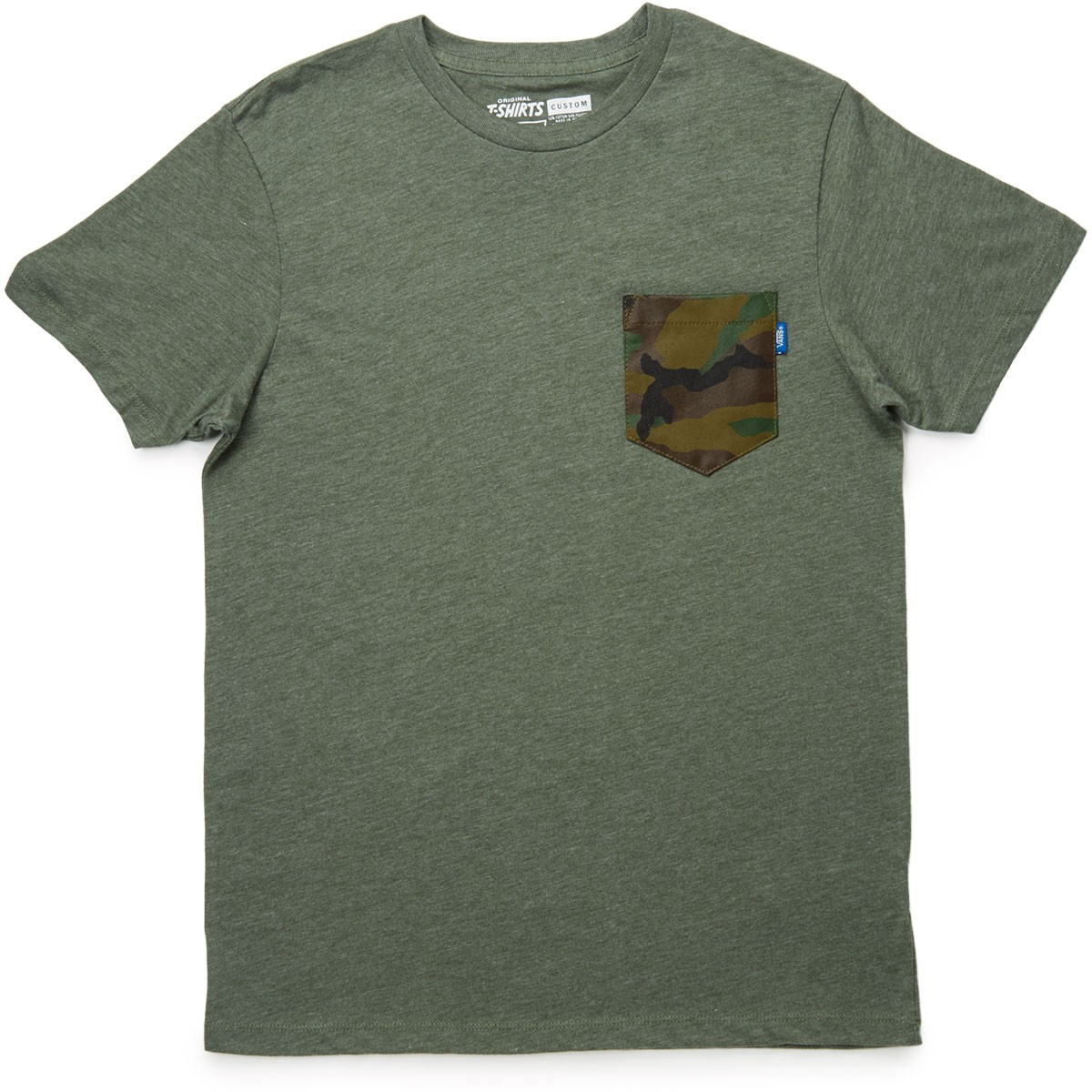 Vans printed pocket t shirt heather olive camo for Pocket t shirt printing