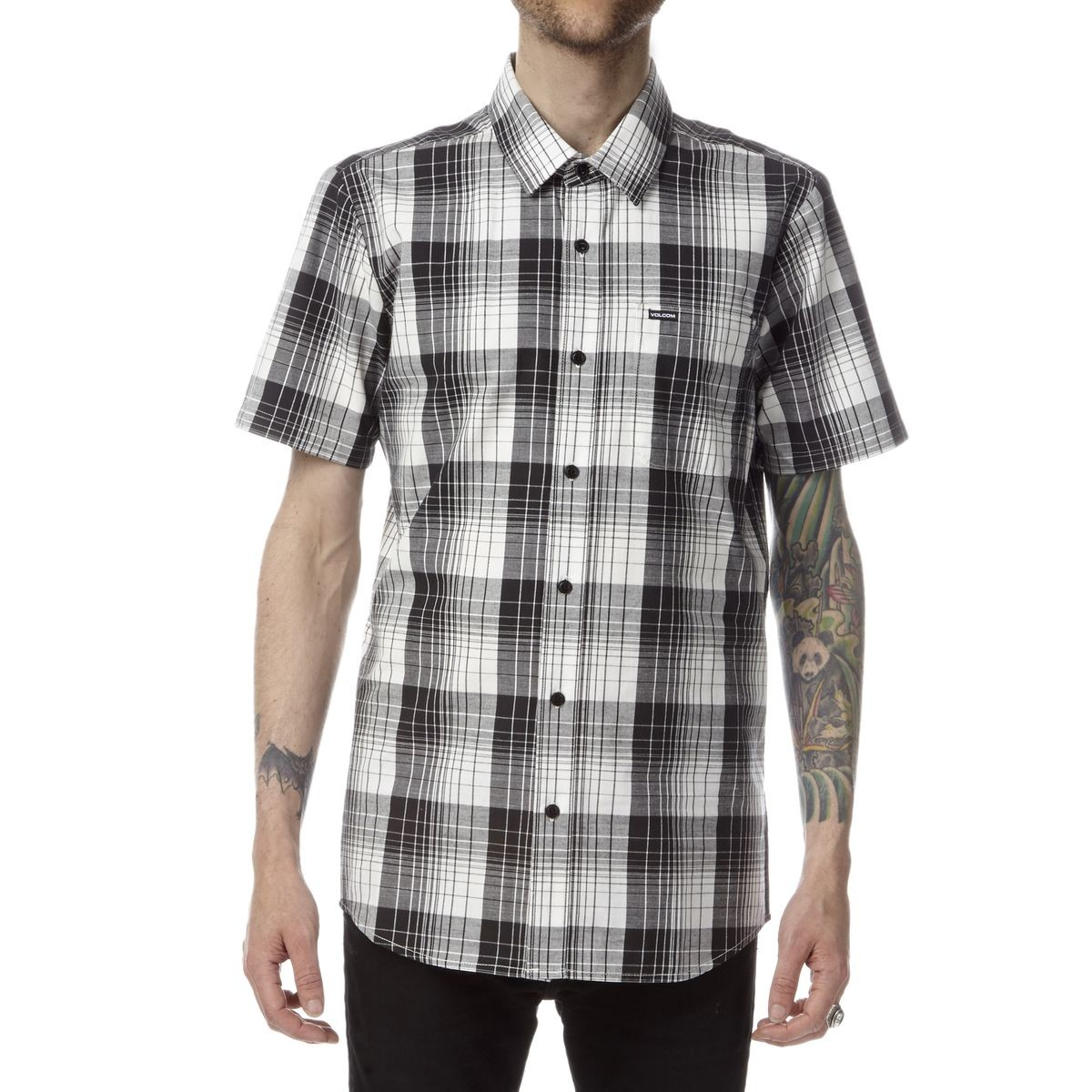 Volcom incarus plaid short sleeve shirt paint white Short sleeve plaid shirts