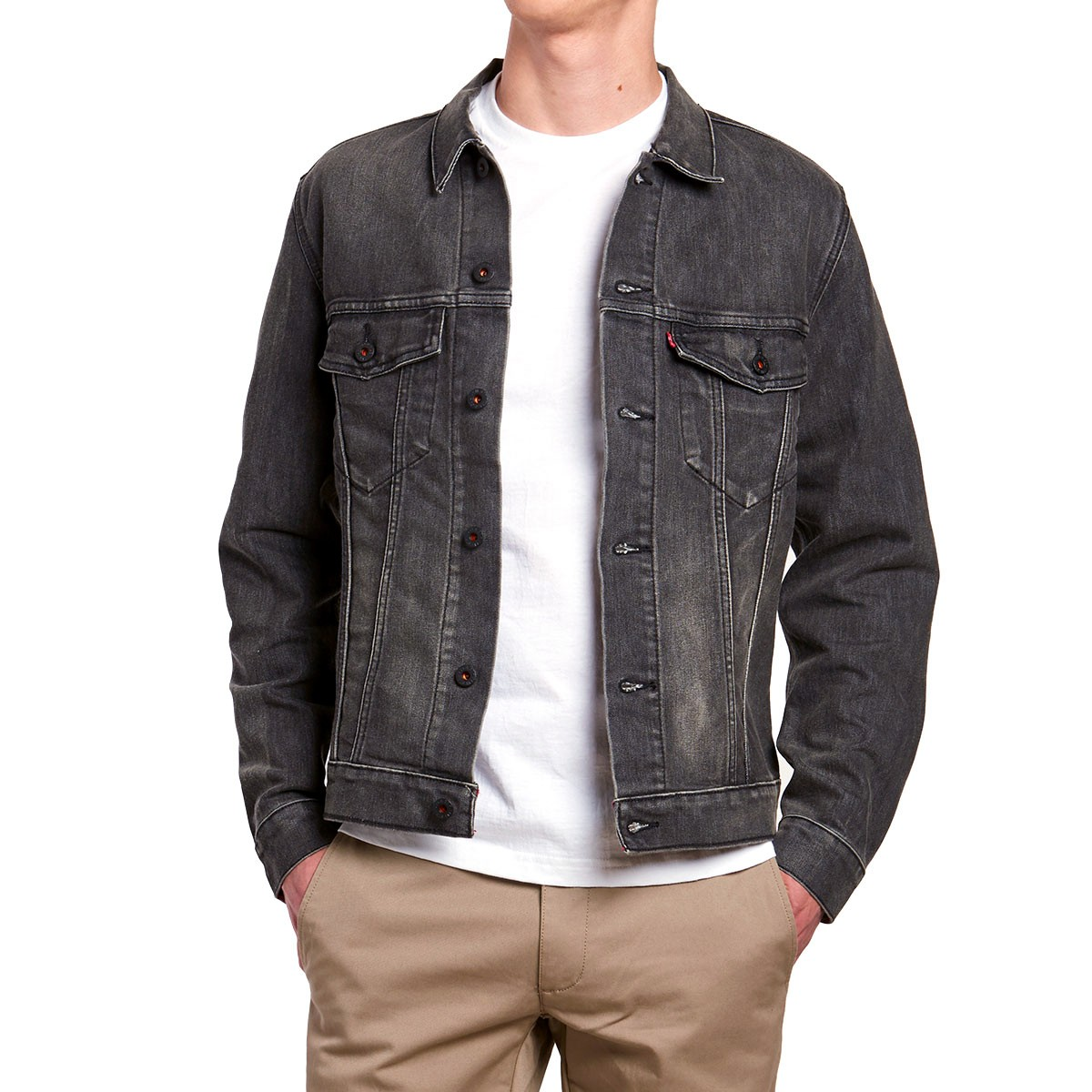 Leviu0026#39;s Type 2 Denim Trucker Jacket - Black Battery
