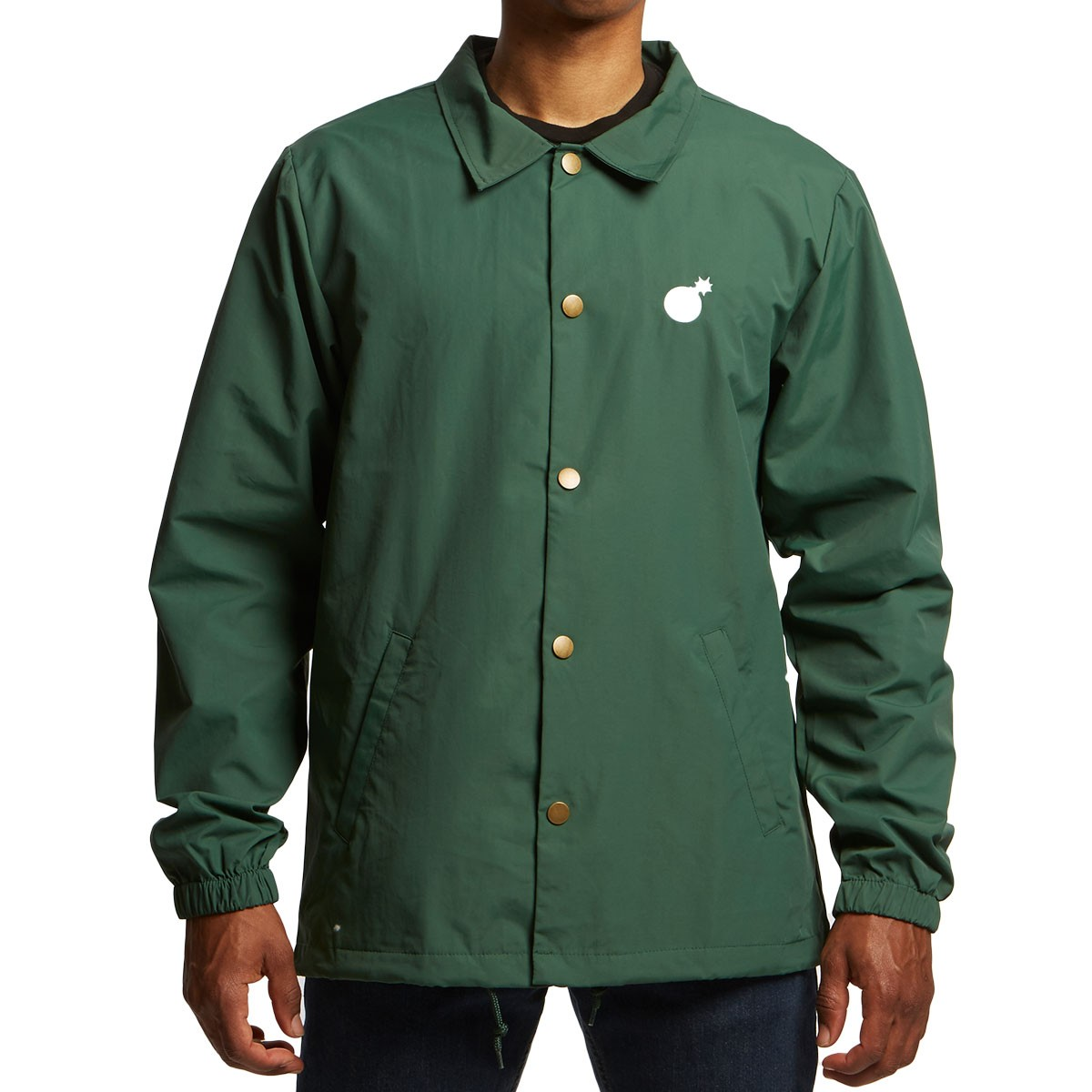 f3dc572392a8 The Hundreds Bar Logo Coaches Jacket - Forest
