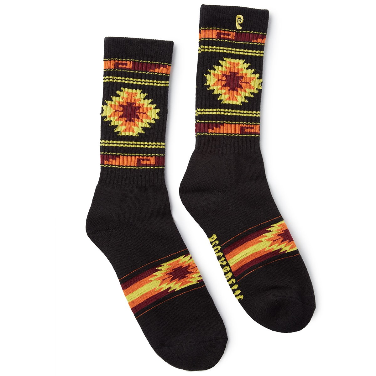 Psockadelic Slash Socks - Black/Orange/Yellow